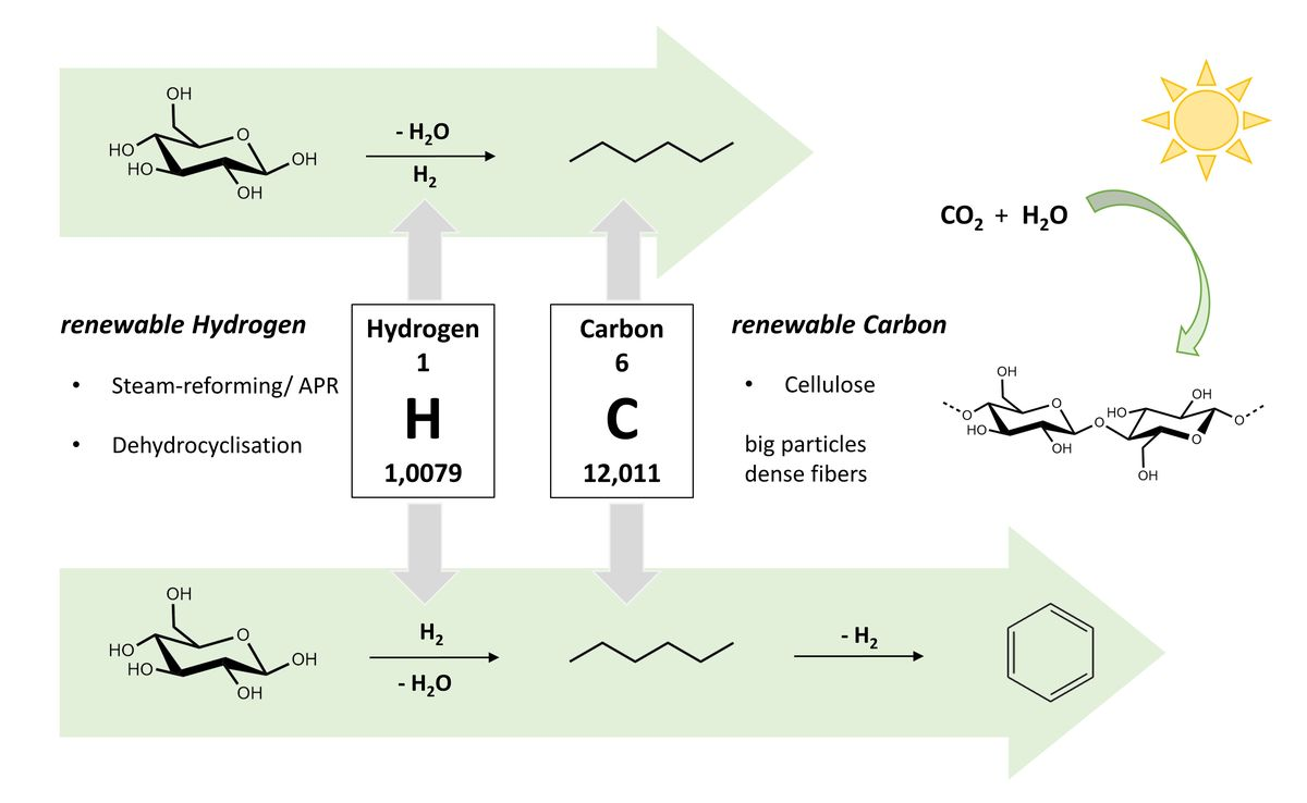 Compositional and structural feedstock requirements of a liquid phase cellulose-to-naphtha process in a carbon- and hydrogen-neutral biorefinery context